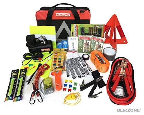 Blikzone Premium Auto Roadside Assistance Emergency Car Kit with 81 Essentials - His Perfect Gifts