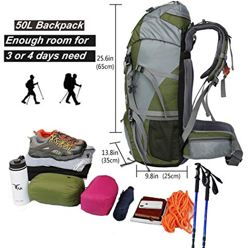 2756ff344077 Seenlast 50L Unisex Travel Hiking Backpack Outdoor Sport Daypack Water-Resistant  Bag with Rain Cover