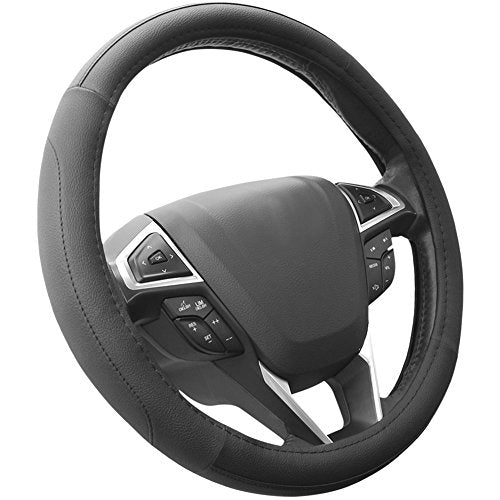 SEG Direct Black Microfiber Leather Auto Car Steering Wheel Cover Universal 15 inch - His Perfect Gifts