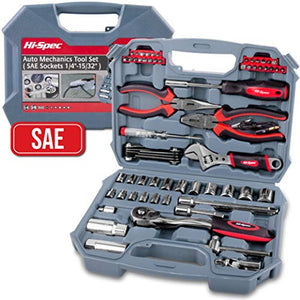 "Hi-Spec 67 Piece SAE Auto Mechanics Tool Set - Professional 3/8"" Quick Release Offset Ratchet with 72 Teeth, 5/32"" - 3/4"" SAE Sockets Set, T-Bar, Extension Bar, Hand Tools & Screw Bits in Storage Case - His Perfect Gifts"