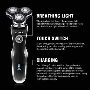 KOOWHEEL Electric Shaver Razor For Men 4 in 1, Beard Trimmer Waterproof Wet Dry Rotary Shaver Cordless Hair Trimmer Nose Hair Trimmer Facial Cleaning Brush USB Rechargeable Black - His Perfect Gifts