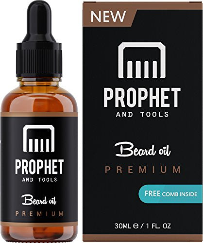 PREMIUM Unscented Beard Oil and Comb Kit for Thicker Facial Hair Grooming - The All-In-One Conditioner and Shampoo-like Softener, Shine and Fuller Beards & Mustache Growth - NUTS-FREE & VEGAN! Prophet - His Perfect Gifts