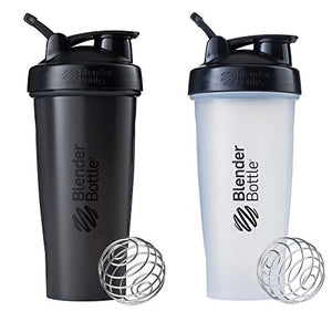 Blender Bottle Classic Loop Top Shaker Bottle, 28-Ounce 2-Pack, All Black and Clear/Black - His Perfect Gifts