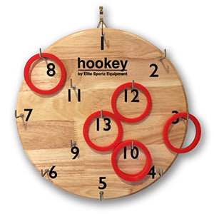 Elite Hookey Ring Toss Game - Safer Than Darts, Just Hang it on a Wall and Start Playing. Fun Outdoor Games for Family. It's Beautifully Finished and Easy to Set-Up for a Man Cave, Home or Office. - His Perfect Gifts