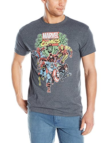 Marvel Men's Comics Vintage Group Men's T-Shirt, Dark Heather, X-Large - His Perfect Gifts