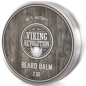 Viking Revolution Beard Balm - All Natural Grooming Treatment with Argan Oil & Mango Butter - Strengthens & Softens Beards & Mustaches - Citrus Scent Leave in Conditioner Wax for Men - 1 Pack - His Perfect Gifts