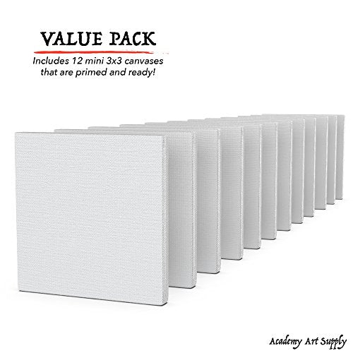 "3""x3"" Canvas for Painting, Academy Art Supplies (12 Pack) - His Perfect Gifts"