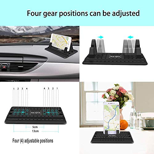 Dashboard Cell Phone Holder by Maxova -Car Phone Mount-Universal Silicon Anti Slip Car Pad Mat Compatible with iPhone Xs Max XR X 7/8 Plus, Samsung Galaxy S9 S8 S7 Note 8 9-Includes Microfiber Cloth - His Perfect Gifts