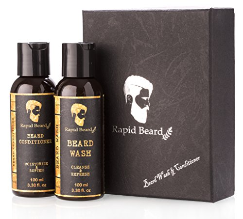 Beard Shampoo and Beard Conditioner Wash & Growth kit for Men Care - Softener & Moisturizer for Grooming Hydrating, Strengthening, Cleansing and Refreshing Beard and Mustache Facial Hair Gift Set - His Perfect Gifts