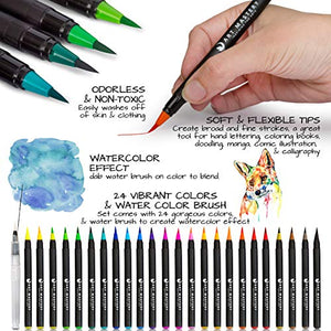 Art Mastery Real Brush Pens, 24-Pack with Flexible Brush Tip, Professional Watercolor Brush Pens for Drawing, Painting, Coloring, More, 100% Non Toxic, Multi Color, Works Great with Watercolor Paper - His Perfect Gifts