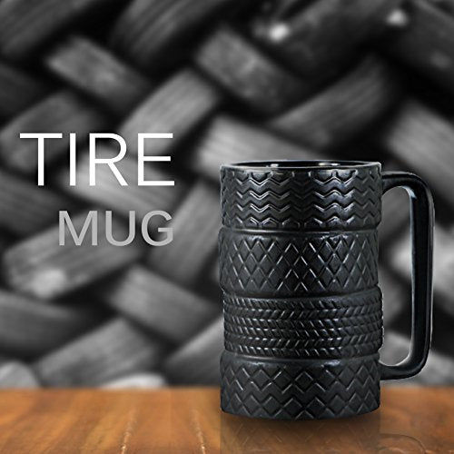 EPFamily 3D Ceramic Cool Car Mug Large Porcelain Tyre Tire Durable Coffee Tea Cup Attractive Mugs Personalized Gifts for Men Women Car Lover 450ml 14.5 OZ Black - His Perfect Gifts