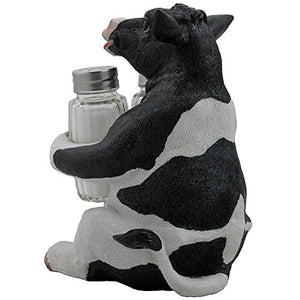 Holstein Cow Glass Salt and Pepper Shaker Set with Holder Figurine in Tabletop Country Kitchen Decor or Decorative Farm Animal Collectible Sculptures As Spice Racks and Rustic Gifts for Farmers - His Perfect Gifts