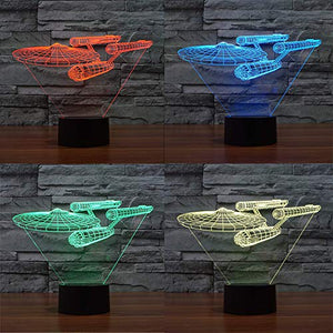 Lmeison 3D Lights Colorful Touch LED Visual Lights 7 LED Colors Change Décor Atmosphere Lamp, Best Gift for Kids, friends, birthdays, holidays( Star Trek Warships) - His Perfect Gifts