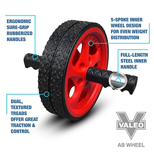 Valeo Ab Roller Wheel, Exercise And Fitness Wheel With Easy Grip Handles For Core Training And Abdominal Workout, VA2413RE - His Perfect Gifts