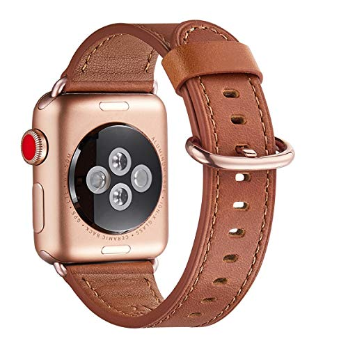 WFEAGL Compatible iWatch Band 38mm 40mm, Top Grain Leather Band with Gold Adapter (The Same as Series 4/3 with Gold Aluminum Case in Color) for iWatch Series 4/3/2/1 (Brown +Gold) - His Perfect Gifts