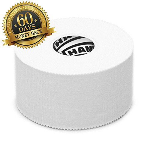 White Athletic Sports Tape VERY Strong EASY Tear NO Sticky Residue BEST TAPE for Athlete & Medical Trainers. PERFECT on bat, Lacrosse / Hockey stick, Lifters, Climbers & Boxing (White, 3-Pack) - His Perfect Gifts