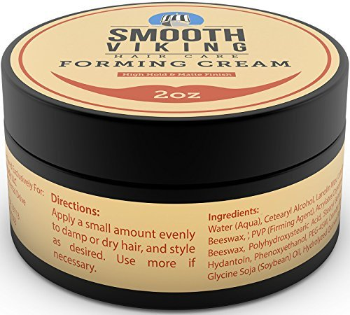 Forming Cream for Men - Hair Styling Cream for High Hold & Matte Finish - Best Pliable Formula for Modern, Classic & Slick Styles - Short, Long & All Other Hair Types- 2 OZ - Smooth Viking - His Perfect Gifts