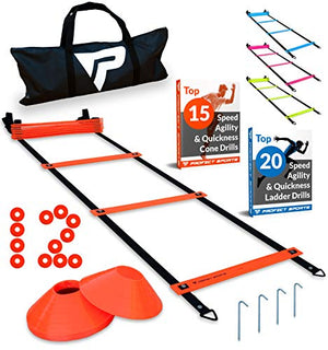 Pro Agility Ladder and Cones – 15 ft Fixed-Rung Speed Ladder with 12 Disc Cones for Soccer, Football, Sports Training – Includes Heavy Duty Carry Bag, 4 Metal Stakes, 2 Agility Drills eBooks (Orange) - His Perfect Gifts