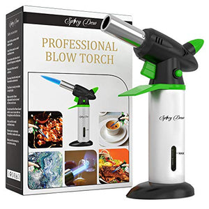 Spicy Dew Blow Torch - Creme Brulee Torch - Refillable Professional Culinary Kitchen Torch with Safety Lock and Adjustable Flame - Micro Butane Torch with Fuel Gauge - Cooking Food Torch (Green) - His Perfect Gifts