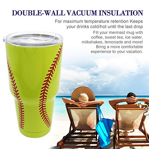 30 oz. Double Wall Stainless Steel Vacuum Insulation Travel Mug Crystal Clear Lid Water Coffee Cup - Works Great for Ice Drink, Hot Beverage (Baseball yellow) - His Perfect Gifts