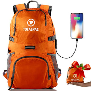 Totalpac Lightweight Hiking and Travel Backpack for Men - Ultralight Packable Outdoor Back Pack for Any Hike - Small Foldable Daypack with USB Cable for Charging Gear While Trave (Orange) - His Perfect Gifts