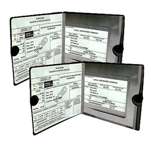 ESSENTIAL Car Auto Insurance Registration BLACK Document Wallet Holders 2 Pack - [BUNDLE, 2pcs] - Automobile, Motorcycle, Truck, Trailer Vinyl ID Holder & Visor Storage - Strong Closure On Each - Necessary in Every Vehicle - 2 Pack Set - His Perfect Gifts