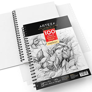 "ARTEZA 9X12"" Sketch Book, Pack of 2, 200 Sheets (68 lb/100gsm), Spiral Bound Artist Sketch Pad, 100 Sheets Each, Durable Acid Free Drawing Paper, Ideal for Kids & Adults, Bright White - His Perfect Gifts"
