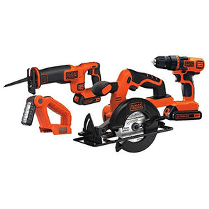 Black & Decker 20V MAX Drill/Driver Circular and Reciprocating Saw Worklight Combo Kit - His Perfect Gifts