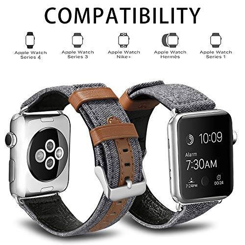 iHillon Bands Compatible Apple Watch 38mm Straps, Grey Elegant Canvas Fabric with Genuine Leather Bands Compatible Apple Watch Series 3, Series 2/1, Edition and Sport, Women Men - His Perfect Gifts