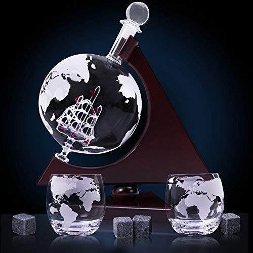Whiskey Globe Decanter Set w/Triangular Wooden Stand, cooling stones, glasses, Bar Funnel & Cork: Satisfy Your Elegant Taste! Handmade Gift for Bourbon, Scotch, Sherry, Cognac, Brandy & Liquor Lovers - His Perfect Gifts