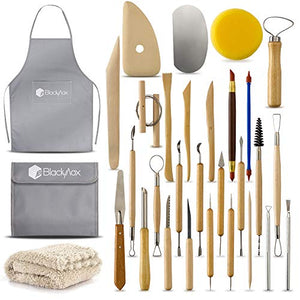 BlackyVox Pottery and Clay Sculpting Tools Double Sided Tool Set Sturdy Toolkit 28 Pcs for Polymer Clay Tools For Carving and Chipping Sculpting Tool Set for Beginner Carrying Case Artist Apron Cloth - His Perfect Gifts