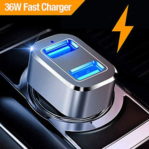 Car Charger, Powerman Quick Charge 3.0 36W Dual USB Car Charger Adapter Fast Car Charging Compatible Samsung Galaxy Note 9 S8 S9 Note 8, iPhone X 8 7 6s Plus, iPad, iPad Air 2/Mini 3, Pixel, LG, HTC - His Perfect Gifts