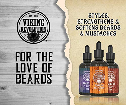 BEST DEAL Beard Oil Conditioner 3 Pack - All Natural Variety Gift Set - Sandalwood, Pine & Cedar, Clary Sage Conditioning and Moisturizing for a Healthy Beards, Great Gift Item by Viking Revolution - His Perfect Gifts