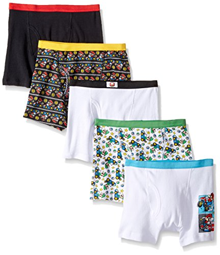 Handcraft Big Boys' Nintendo Mario 5pk Boxer Briefs, Assorted Patterns, 8 - His Perfect Gifts
