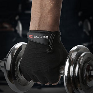BEACE Weight Lifting Gym Gloves with Anti-Slip Leather Palm for Workout Exercise Training Fitness and Bodybuilding for Men & Women - His Perfect Gifts