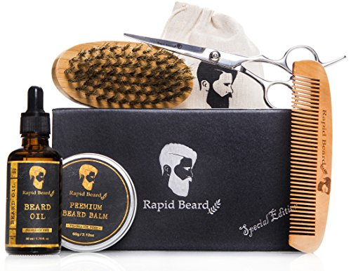 Beard Grooming & Trimming Kit for Men Care - Beard Brush, Beard Comb, Unscented Beard Oil Leave-in Conditioner, Mustache & Beard Balm Butter Wax stuffers, Barber Scissors for stocking, Growth Gift set - His Perfect Gifts