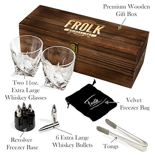 Whiskey Bullet Stones Premium Gift Set By Frolk, Set Of 6 Extra Large Stainless Steel Whiskey Stones, 2 Large Twisted Whiskey Glasses (11 oz), Freezer Base, Velvet Pouch & Tongs In Novelty Wooden Box - His Perfect Gifts