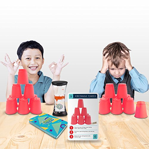 Gamie Stacking Cups Game with 18 Fun Challenges and Water Timer, 24 Stacking Cups, Sturdy Plastic, Classic Family Game, Great Gift Idea for Boys and Girls, Tons of Fun - His Perfect Gifts