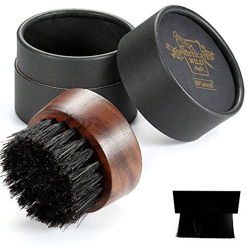 BFWood Beard Brush for Men - Boar Bristles Small and Round - Black Walnut Wood - His Perfect Gifts
