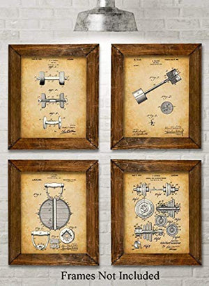 Original Workout Equipment Patent Art Prints - Set of Four Photos (8x10) Unframed - Great for Home Gyms - His Perfect Gifts