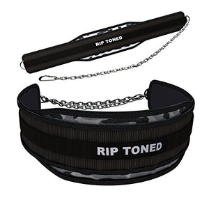 "Rip Toned Dip Belt - 6"" Weight Lifting Pull Up Belt with 32"" Heavy Duty Steel Chain & Bonus Ebook - for Powerlifting, Xfit, Bodybuilding, Strength & Training - Lifetime Replacement Warranty - His Perfect Gifts"