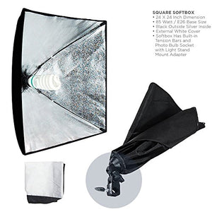 LimoStudio 700W Photo Video Studio Soft Box Lighting Kit, 24 x 24 Inch Dimension Softbox Light Reflector with Photo Bulb, Photography Studio, AGG814 - His Perfect Gifts