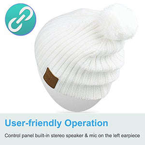 Qshell Unisex Adult Bluetooth Beanie Hat Trendy Soft Warm Short Audio Music Cap with Wireless Headphone Headset Speaker Mic Hands-free,Christmas Gift for Winter Outdoor Sport Skiing Snowboard - White - His Perfect Gifts