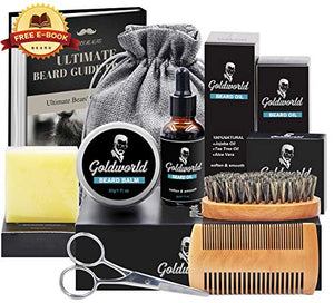 Beard Care & Grooming Kit w/Free Beard Soap,Unscented Beard Oil,Beard Balm,Beard Comb,Beard Brush,Beard Scissors,Storage Bag for Beard Care Growth by GoldWorld - His Perfect Gifts