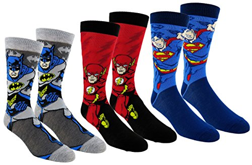 DC Comics Justice League Mens Casual Crew Socks 2 & 3 Pair Packs (One Size, JL Multi-color) - His Perfect Gifts