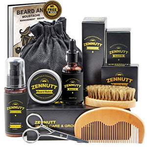 Ultimate Beard Care Kit for Men Beard Growth & Grooming Set w/ Beard Balm Butter & Beard Oil & 100% Boar Beard Brush &  Wood Beard Comb & Beard & Mustache Scissors,Best Gifts Set - His Perfect Gifts