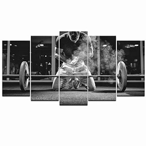 Live Art Decor - 5 Piece Black and White Canvas Wall Art Weightlifting Pictures Sportsman Muscular Weightlifter Paintings on Canvas Framed and Stretched for Gym Decorations Home Decor Ready to Hang - His Perfect Gifts
