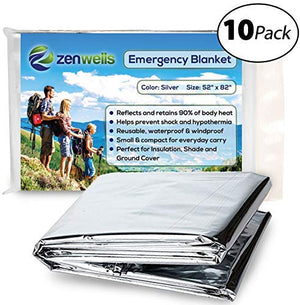 Emergency Mylar Thermal Blanket 10 Pack; Space Blankets Designed for NASA, Perfect Survival Gear for Adults and Kids, Equipment for Earthquake Preparedness Kit, Outdoors, Bug Out Bags, First Aid Kits - His Perfect Gifts