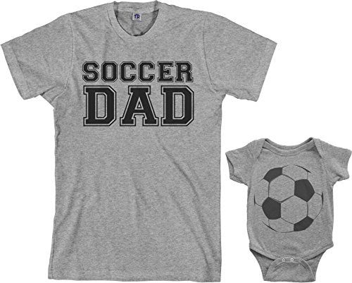 Soccer Dad & Soccer Ball Infant Bodysuit & Men's T-Shirt Matching Set (Baby: 6M, Sport Gray|Men's: M, Sport Gray) - His Perfect Gifts