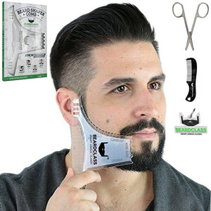 BEARDCLASS Beard Shaping Tool - 8 in 1 Comb Multi-liner Beard Shaper Template Comb Kit Transparent - Works with any Beard Razor Electric Trimmers or Clippers (Clear) - His Perfect Gifts